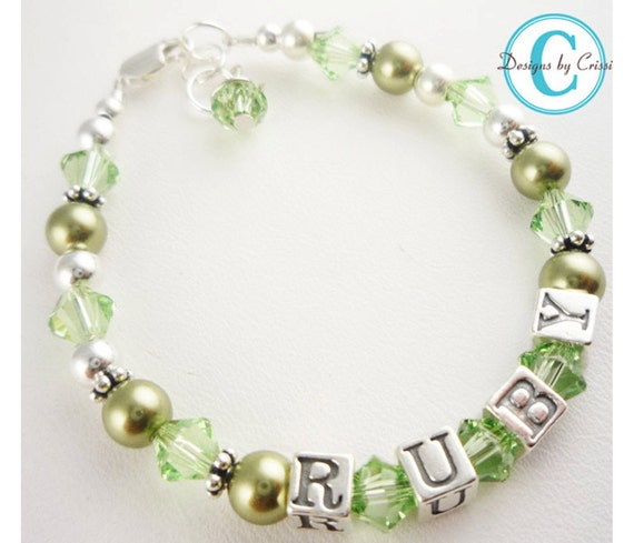 Green or Any color name bracelet for girls- pick size and colors