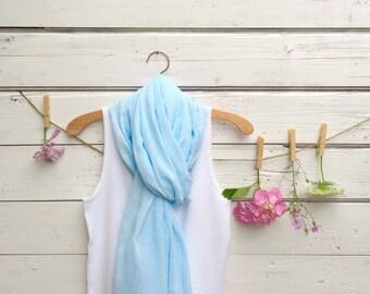 Cotton Scarf, Summer Scarf, Cotton Gauze Scarf, Ice Blue Scarf, Long Scarf, Women's Fashion Scarf, Fashion Accessories, Gift Idea