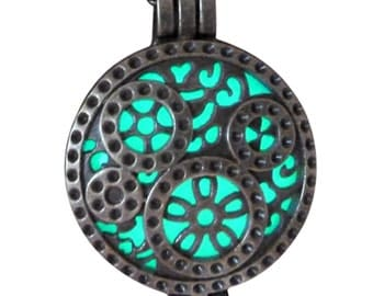 yOUR unIQue brONze  POCket watch grears Aqua glow in the dark necklace