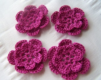 Appliques hand crocheted flowers set of 4 magenta cotton 1.5 inch