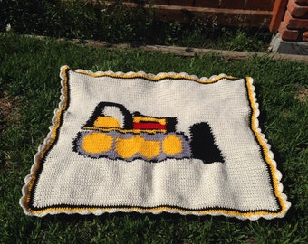 Construction Vehicle -Baby Blanket - Crib Size - Baby Boy - Ready to Ship - Earth Mover - Bull Dozer
