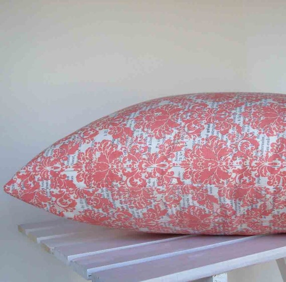 Pillow Cover in Pink Damask 16 inch with zipper closure