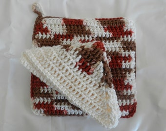 Crocheted Dishcloth and Potholder/ Crocheted Kitchen Set