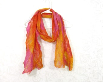 Cobweb Felted Scarf Wool Scarf Winter Scarf Fall Scarf Womens Scarf Lightweight Scarf Orange Pink Goldenrod Bright Scarf Gift for Her OOAK