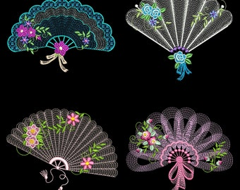 VICTORIAN FANS (4inch) - 10 Machine Embroidery Design Instant Download 4x4 Hoop Pack (AzEB)