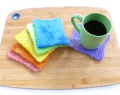 Rainbow coasters felted wool coasters set of six mug rugs ready to ship