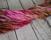 New - Hand Dyed ribbon BRONZED ROUGE glitters, 5 yards