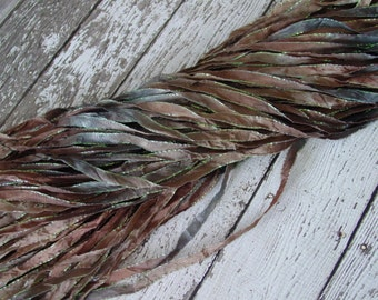 New - Hand Dyed PEBBLES glitters ribbon, 5 yards
