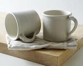 Two straight sided mugs - hand thrown stoneware in vanilla cream