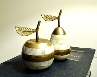 Vintage Brass & Capiz Pear and Apple Trinket Boxes