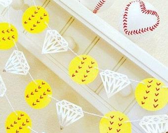 Softball Diamond Garland, Queen of Diamonds Banner, Diamonds are a Girls Best Friend, Softball Engagement, Softball Theme Wedding