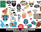 Panthers Football Photo Booth Props - Super Bowl Party- Football Party - Instant Download PDF - 46 DIY Printable Props