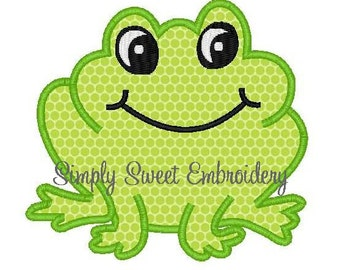 Frog Machine Embroidery Applique Design
