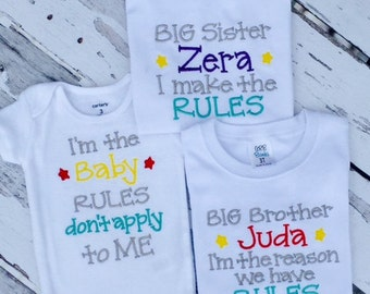 Sibling RULES Shirt Set. Big Bother, Big Sister, Little Brother, Little Sister, or Baby.