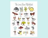 "The Lone Star Alphabet Print 12""x16"""