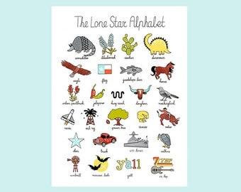 The Lone Star Alphabet Print Art