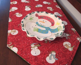 Snowman Table Runner 72 Inch Reversible Candy Cane Table Runner Snowman Red Table Runner Winter Table Runner Red and Green Table Runner