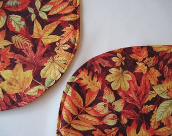 Burgundy Fall Leaves Placemats set 4 or 6 Oval Autumn Leaves Placemats Oval Thanksgiving Placemats Oval Autumn Placemats Cranberry Placemats