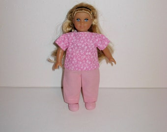 Handmade clothes. Cute outfit for Mini American girl doll 6 1/2 inch