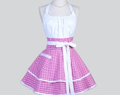 Flirty Chic Womens Aprons - Full Retro Kitchen Apron in Vintage Raspberry Pink Gingham Check Handmade Cute Sexy Womans Cooking Apron