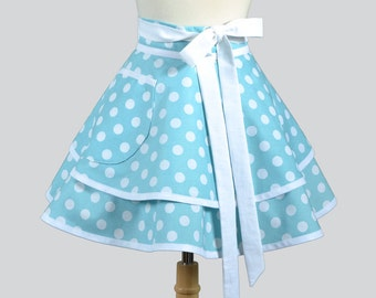 Womens Waist Aprons . Cute Flirty Full Retro Ruffled Half Apron Vintage White Polka Dots on Aqua Kitchen Cooking or Hostess Womans Apron