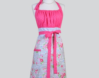 Cute Kitsch Retro Apron /  Pam Kitty Fog in Silver Gray and Rose Bouquets with Hot Pink Dots in a Handmade Cute Womens Apron