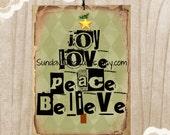3 Tags Love Joy Peace Believe Christmas Tree Tags / Green Argoyle / Lg Favor Bag Gift Tags Label / Christmas Ornament / 3 Day Ship (ref-ts)