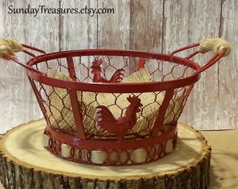 Red Rooster Wire Basket / Bowl / French Country Decor / Farmhouse Table Top Centerpiece / Chicken Wire /  Centerpiece