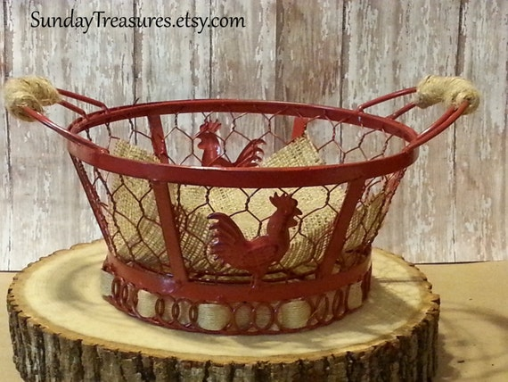 red rooster wire basket bowl french country decor