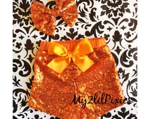 Sale Girls Orange Sparkle Sequin SHORTS and Orange sparkle Bow -Girls birthday outfit- Baby Girl sequin shorts- Infant toddler shorts- baby