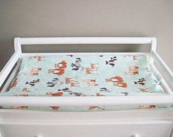 Mint Green Woodland Changing Pad Cover, Mint Forest Baby Changing Pad Cover, Hello Bear Oh Hello Meadow