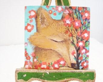 Original Mini Painting on Canvas.. Foxes Flowers True Love....