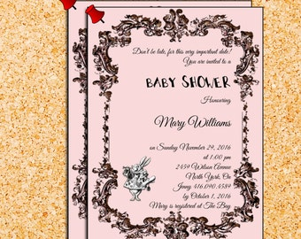 Alice in wonderland Baby girl shower  Customized Personalized Invitation  Digital Download
