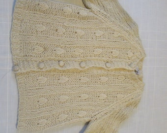 VINTAGE Hand Knit Wool Sweater Joyce Sportswear Ivory Made in Italy Italian Size Small Extra Small