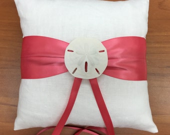 Beach Wedding White Linen Ring Bearer Pillow with Starfish or Sand Dollar in 8 Ribbon Choices