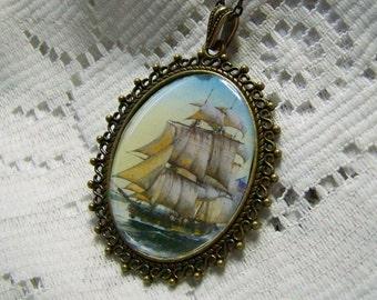 Tall Ship Large Pendant - Schooner - Nautical Art Necklace - Steampunk - Pirate Ship - Sailing Ship - Antiqued Gold Windjammer Clipper Ship