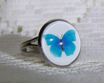 BLUE BUTTERFLY Ring - Butterfly Art, Adjustable ring silver plated band - Butterfly Garden - Blue and White - Lepidopterist - Moth