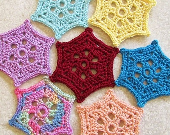 You Choose Color Snowflake Earrings Crochet Dangles Doily Jewelry