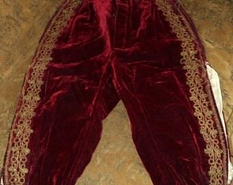 18th C Gentlemen's Trousers Pants Handmade Silk Velvet Metallic Gold Trim Side Pocket European Wearable Antique Buttons