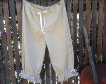 Natural Organic Linen Prairie Bloomers Womens XSm-XLg Custom Made