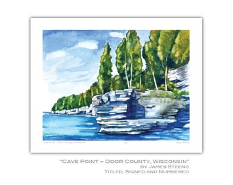 Cave Point – Door County, Wisconsin Watercolor Art Print by James Steeno