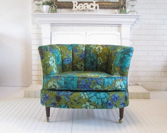 Vintage  Chair, Living Room Chair Blues and Greens Bold Floral, Cushion Chair, Upholstered Chair, Mod 1960s