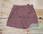Maroon & White Gingham Short Blank for Boys