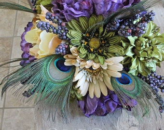 Custom Listing for Erin - Peacock Wedding Bouquets and Boutonnieres