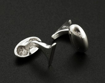 1 Pair Solid Sterling Silver Cuff Link Bases - Made in the USA