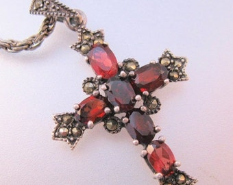 "15% OFF SALE Vintage Genuine Garnet Marcasite Cross Pendant Necklace Sterling Silver w/18"" Rope Chain Fine Jewelry Jewellery"