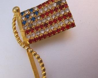 15% OFF SALE Vintage American USA Flag Rhinestone Brooch Costume Jewelry Jewellery
