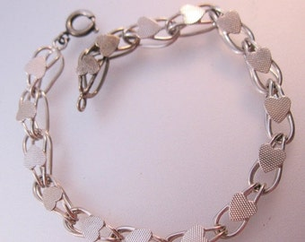 "BIGGEST SALE of the Year Vintage Heart Starter Charm Bracelet Sterling Silver Double Loop or Double Curb Chain 7"" Jewelry Jewellery"