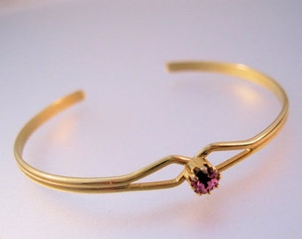 MOTHERS DAY SALE Vintage Girls Pink Stone Cuff Bracelet Gold Plated Never Worn