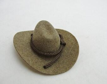 Miniature brown cowboy hat, mini cowboy hat, peg person cowboy hat